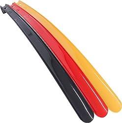 Komfort-Schuhanzieher Kunststoff, 70cm, bruchsicher, mit Haken und Lochung 3er SET, brilliante Farben schwarz, rot, gelb