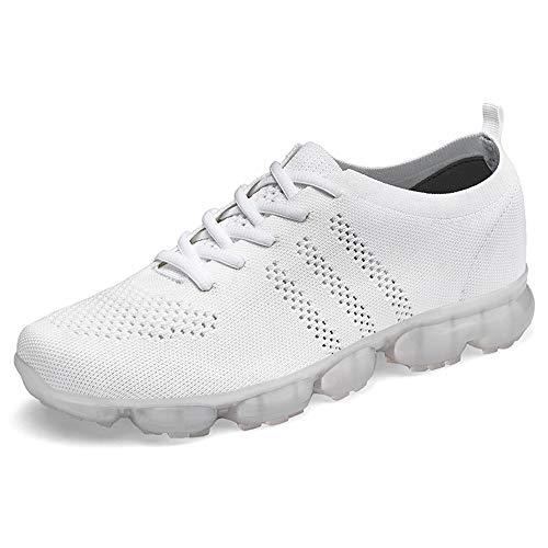 Casual Suede Shoe Für Männer Sportschuhe Lace Up Style Mesh Material Hohl Hohe Elastische Mode Gelee Kleber Sohle Sportschuhe Herren Sneaker (Color : Weiß, Größe : 47 EU) -