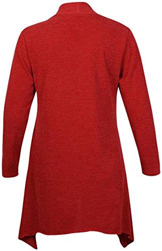 à manches longues pour femmes femmes Uneven ourlet mouchoir détachable Broche Cardigan ouvert uni Haut grande taille Rouille