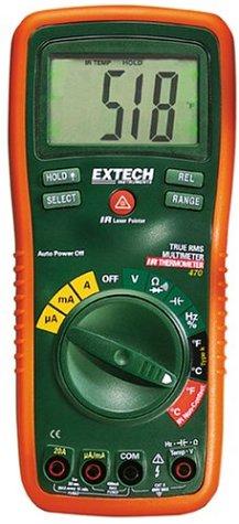 Extech EX470A Professionelles Multimeter mit 12 Funktionen, True RMS (Echteffektivwertmessung) und Infrarot-Thermometer Rms 12