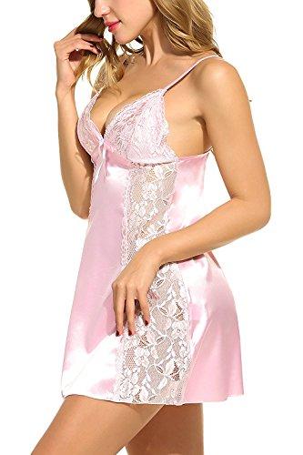 Avidlove Satin Damen Negligee Nachtkleid Nachthemd Babydoll Rückenfrei Nachtwäsche Lingerie Träger kleid Sleepwear mit Spitze Dekor Rosa