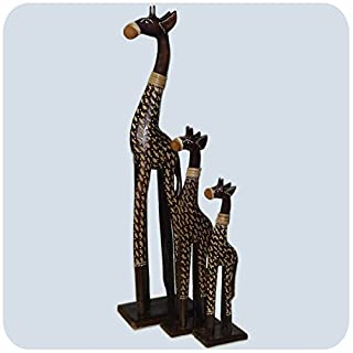 Simandra Holz Figur Skulptur Abstrakt Holzfigur Statue Afrika Asia Handarbeit Deko Giraffe braun bemalt Größe 3 Set