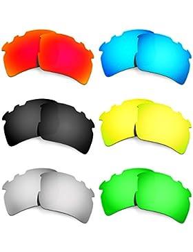 Hkuco Mens Replacement Lenses For Oakley Flak 2.0 Vented Red/Blue/Black/24K Gold/Titanium/Emerald Green Sunglasses