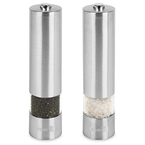 homiu Elektronische Edelstahl-Salz-& Pfeffermühle mit verstellbarem Mahlwerk Elektrische Lebensmittel-schleifer Und Mühlen