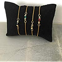 Bracelet Femme Swarovski, Ensemble de bracelets femme gourmette pierre naturelle Swarovski et perles Heishi plaqué or 24 k, bracelet doré, idée cadeau, bijoux cadeaux
