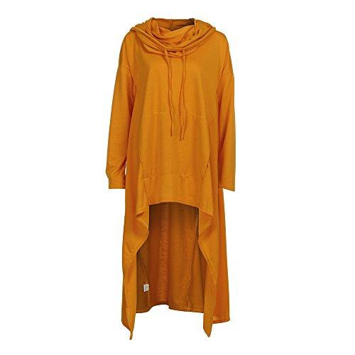 Frauen beiläufiges Unregelmäßiges mit Kapuze Sweatshirt Damen Langen Oute Pullover Bluswear Mäntel MYMYG Tunika Pulli Langarmshirt(Gelb,EU:46/CN-4XL) Cashmere-shift