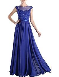 Topkleider Damen Elegant Blau Spitze Rund Chiffon Stein A-Linie Band  Partykleider Ballkleider Abendkleider Lang 0a2fe9020f
