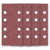 50 Feuilles abrasifs auto-agrippantes MioTools / papier abrasif pour ponceuse vibrante - 180x93 mm - grain 40 – 8 trous