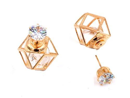 Vorder- und Rückseite Geometrische Polygon die Jacke Ohrringe mit einem käfigbetten Diamant (in Organza Tasche)