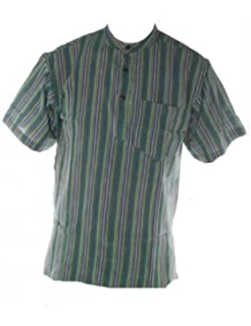 Verde ligero diseño a rayas de manga corta algodón blusa sin cuello pequeña a para el abuelo tamaños 5XL