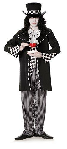 Dunkel Mad Hatter Herren Halloween Märchen Horror Erwachsene Kostüm Neu (Large Biz su 44