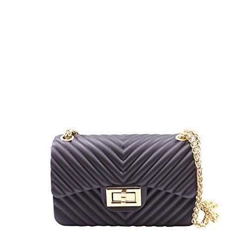 Haute für Diva S Damen NEU Kiste Form Gesteppter Effekt geprägt gelbgolden Kette Umhängetasche Handtasche - Grün, Small Lila