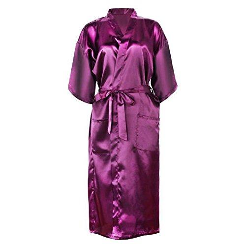 Bel Avril Damen Kimono Lang Satin Morgenmantel Bademantel Nachthemd V Ausschnitt Mit Gürtel, mit einem geschenk - Absacker Grape