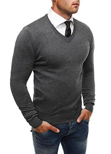 OZONEE Herren Pullover Hoodie Sweatshirt Longsleeve MIX Dunkelgrau_LP6002