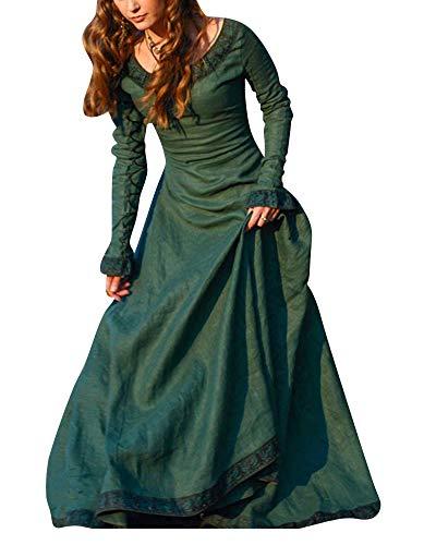 ShiFan Mittelalter Kleidung Damen Langarm Kleid Maxikleid Retro Rundhalskleider Halloween Kostüm Gotisch Kleider Grün M