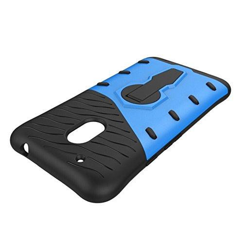 Für Moto G4 Play Case Neue Rüstung Tough Style Hybrid Dual Layer Rüstung Defender Soft TPU / PC Rückseitige Abdeckung Fall mit 360 ° Stand [Shockproof Case] ( Color : Gold ) Blue
