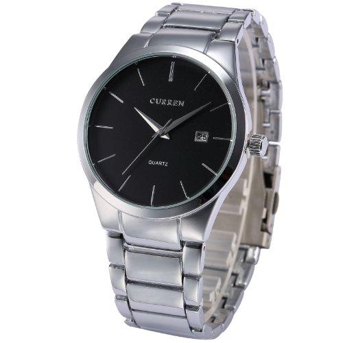 EASTPOLE Analog Herren Armbanduhr Quarzuhr mit Silber Armband aus Metall Datumanzeige CUR050