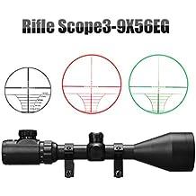 Mira Telescópica Alcance (3-9x56mm, Visual Rojo y Verde, Uso Táctico, Alta Precisión y Porcentaje de Acierto), Negro