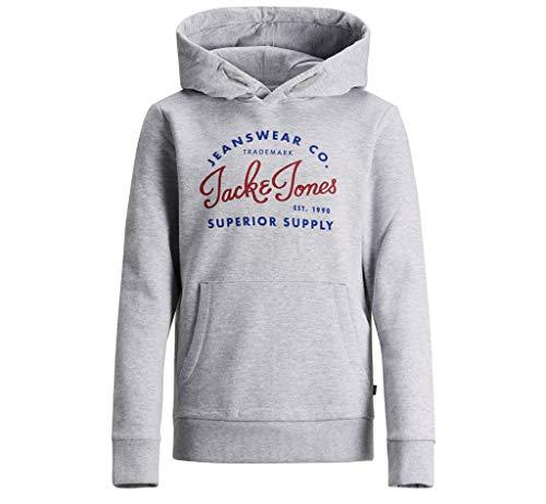 Jack & Jones Junior Jungen JJELOGO Sweat Hood 2 COL NOOS JR Kapuzenpullover, Grau Light Grey Melange, (Herstellergröße: 164)