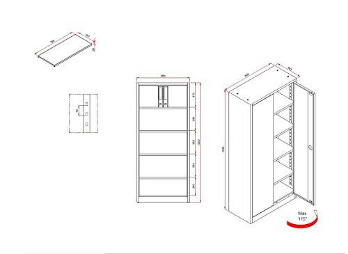 Flügeltürenschrank Schrank Stahl Stahlblech Lagerschrank Aktenschrank Büroschrank Werkzeugschrank 4 Fachböden/4,5 OH/Maße: 1800x800x380mm 530330 kompl. montiert und verschweißt - 3