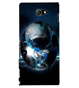 ColourCraft Earth Design Back Case Cover for SONY XPERIA M2 DUAL D2302