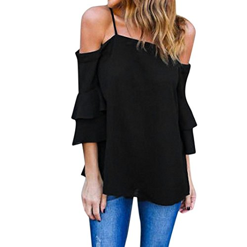 KaloryWee Women's Off Shoulder Strappy Tank Tops Bell Sleeve Loose Casual Shirt Blouse