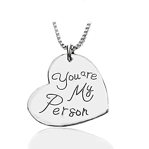 Inspirational Necklace for Women Teen Girl - You're my person - 18k White Gold Plated Heart Shaped Charm by Majesto
