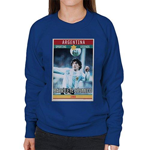Sporting Legends Poster Argentina Diego Maradona World Cup 1960 Women's Sweatshirt (Pullover 1960 S Damen)