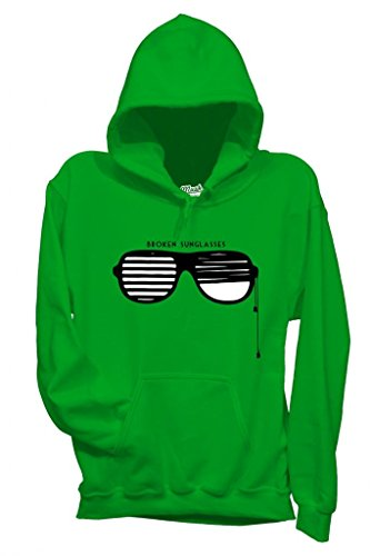 Felpa OCCHIALI ROTTI - BROKEN SUNGLASSES - DIVERTENTE by Mush Dress Your Style Verde prato