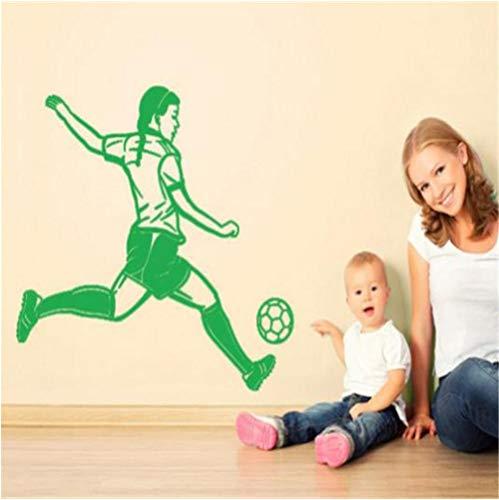 Ragazza che gioca a calcio stile muro lampada da parete rimovibile fai da te arte della parete adesivi decorazione della casa soggiorno camera da letto 59x67cm