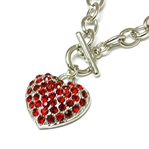 The Olivia Collection Red Crystal Heart Necklace on 18 Inch Toggle Chain