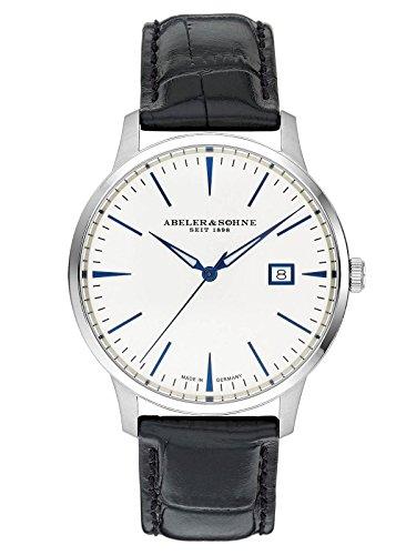 Abeler & Söhne Reloj de hombre fabricado en Alemania con cinta de piel, cristal de zafiro y fecha as3021