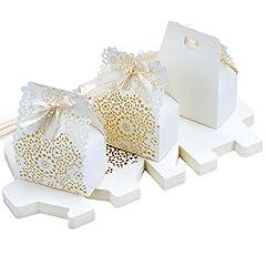 Idea Regalo - TsunNee, scatola per caramelle in carta cava, motivo floreale, scatole regalo fai da te, scatole di carta creativa per addio al nubilato, confezione da 30