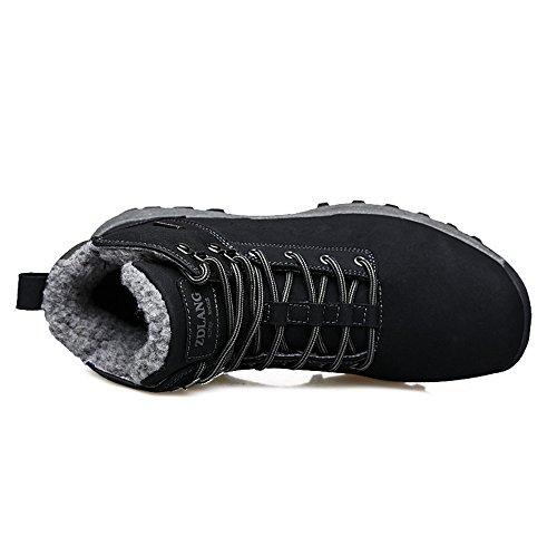 Zaone Herren Winterschuhe Wasserdicht Trekking Wanderschuhe Warm Gefütterte Outdoor Sneaker Boots Schwarz
