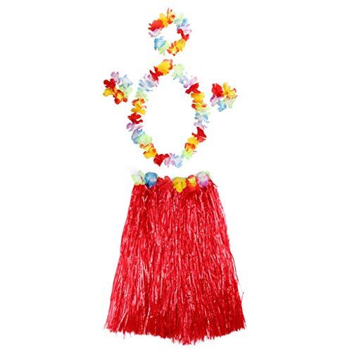 Youliy Hawaiian Hula Grass Rock mit Blume Leis Kostüm Set für tropischen Strand Luau Party Dekoration 30 rot (Hula Girl Halloween Kostüm)