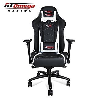 GT Omega Pro XL silla de oficina de piel, diseño deportivo, color blanco y negro