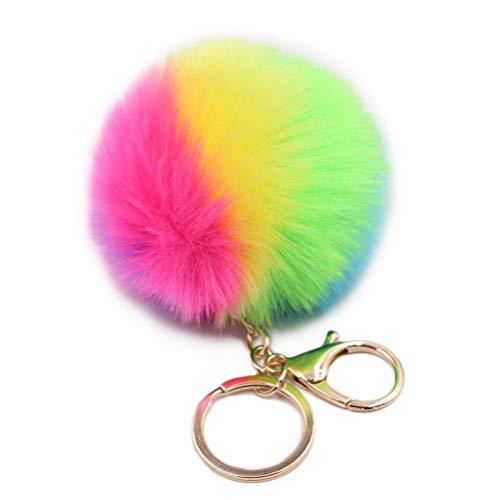 NUOBESTY Keychain fellknäuel schlüsselanhänger Nette kreative dekor für Frauen Tasche zubehör Auto Handtasche Dekoration Kinder Party Souvenir (rosa)