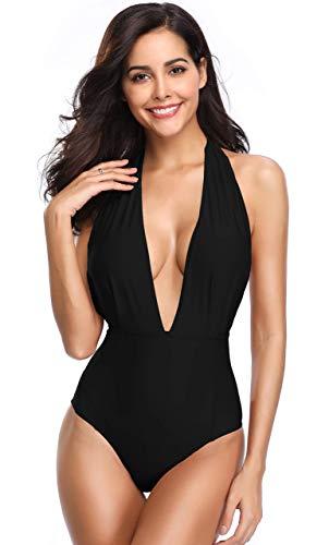 SHEKINI Damen Monokini Badeanzug mit tiefem v-Ausschnitt Plunge Backless mit hohen Taille zu Large schwarz -