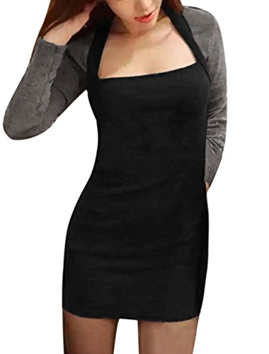 sourcingmap Femme Asymétrique Cou à caissons Couleur De Contraste Robe Moulante Noir