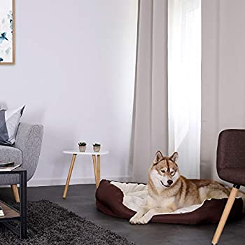 Dibea Lit,Coussin, Canapé Lavable avec Coussin Réversible pour chien, Marron et Beige, 110 x 80 x 23 cm
