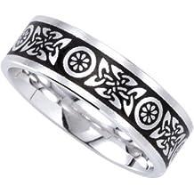14ct blanco de suite anillo de compromiso con piedra Duo 7 mm de la Alianza esmaltado - tamaño W 1/2 - JewelryWeb