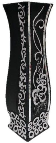 David Fischhoff Tall Floor Standing Vase Black Mirrored Glitter Diamante Tall Ceramic Vase 60cm