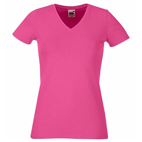 Fruit of the Loom-Lady-fit T-Shirt V-Neck SS055 Rosa - Fuchsia