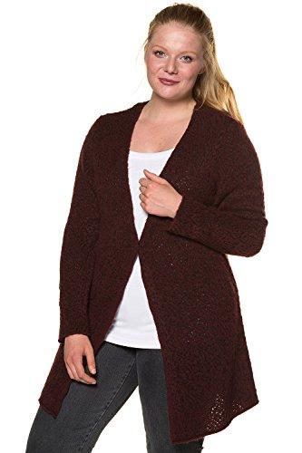 Ulla Popken Femme Grandes tailles Cardigan Femme Automne Hiver à Manches Longues Casual en Tricot Deux Poches Sweater Vester Top Manteau 713571 mûre