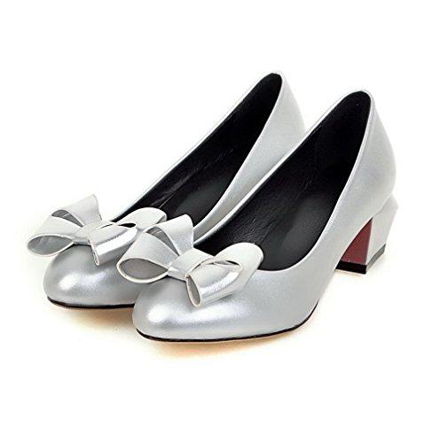 VogueZone009 Femme Couleur Unie Pu Cuir à Talon Correct Tire Rond Chaussures Légeres Argent