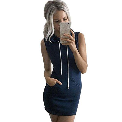 Honestyi ModeDamen Beiläufig ÄrmellosMit Kapuze Kleid Gemütlich Casualkleider Reizvoller Streetwear sweatshirts Kapuzenpullover T-shirt (M, Blau) (Pullover Vintage Kapuzen)
