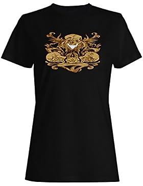 Arte divertido de la novedad del cráneo del vintage camiseta de las mujeres oo30f