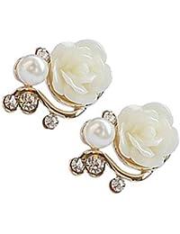 Floridivy Forma Mujeres Flor Rhinestones Pendiente de la Perla niñas Clip de Oreja Pin de la aleación del Perno Regalo de cumpleaños joyería