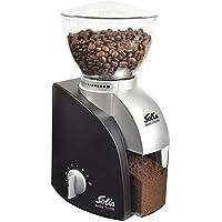 Solis Elektrische Kaffeemühle, 1 bis 10 Tassen, 13 Mahlstufen, Antistatikeinrichtung, Kegelmahlwerk, Scala Classic, Schwarz
