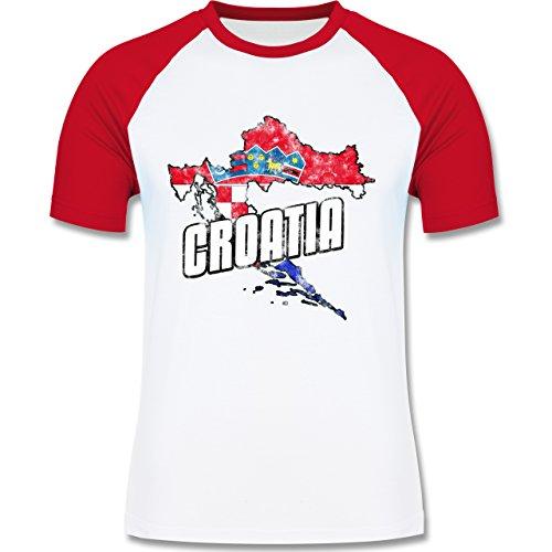 EM 2016 - Frankreich - Croatia Umriss Vintage - zweifarbiges Baseballshirt für Männer Weiß/Rot